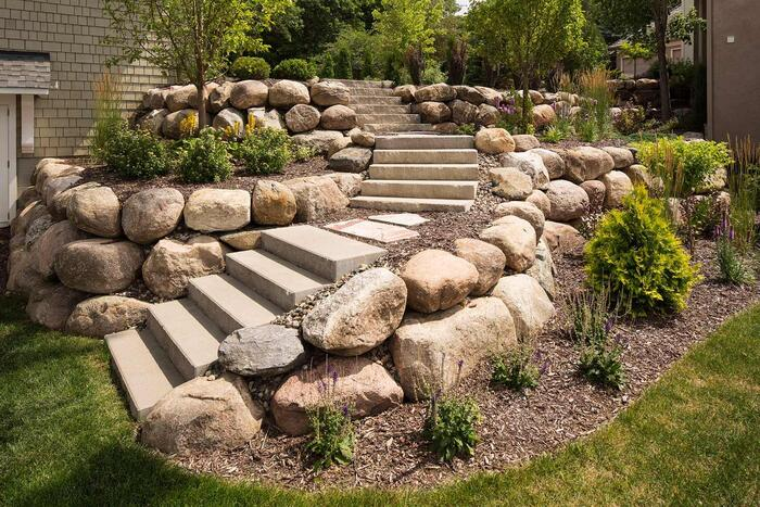 steps in landscaping outdoor staircase with stones grass and plants