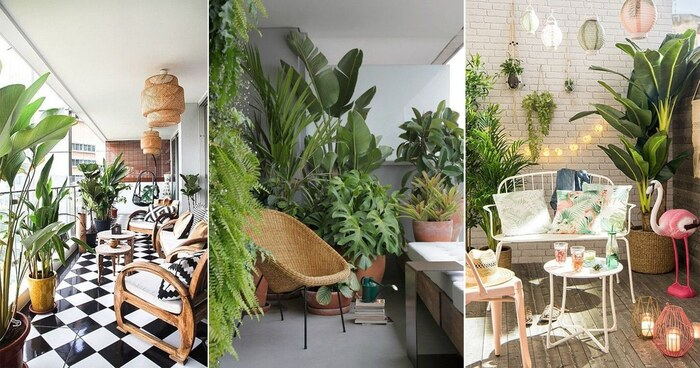 balcony tropical plants three balconies with many living plants wooden furniture balcony oasis
