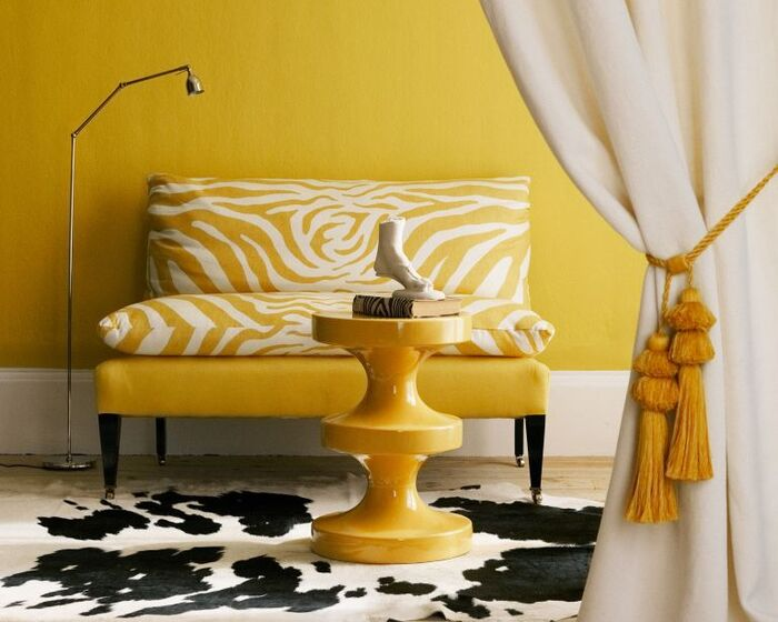 bright colors yellow interior yellow chair with animal print carpet