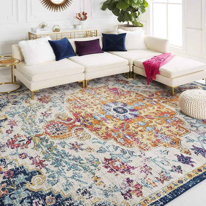 carpet ideas colorful carpet with intricate design in an all white living room with a white sofa and colorful decorative pillows