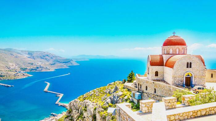 corfu greece church with a view overlooking the sea
