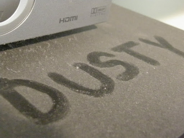 dusty surface with written the word dusty on it