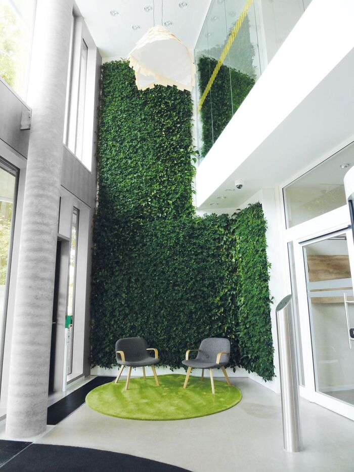 green panel wall modern white space of a tall building