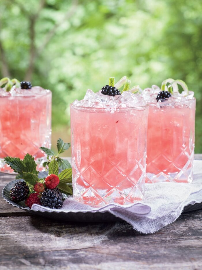 pink drinks cocktails in elegant glasses with berries outdoors pink cocktails