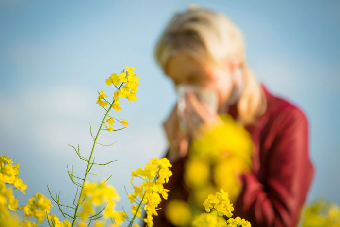 seasonal allergies woman with a white tissue sneezing in the background of yellow flowers
