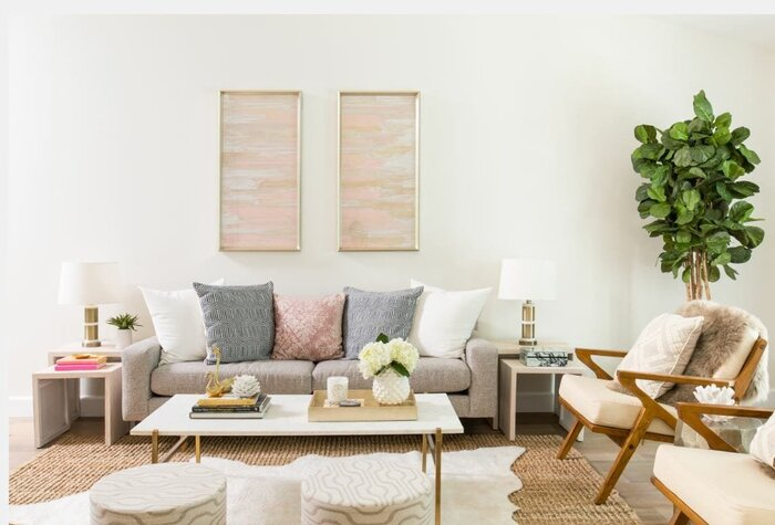 summer home interior in light neutral colors and pastel accents