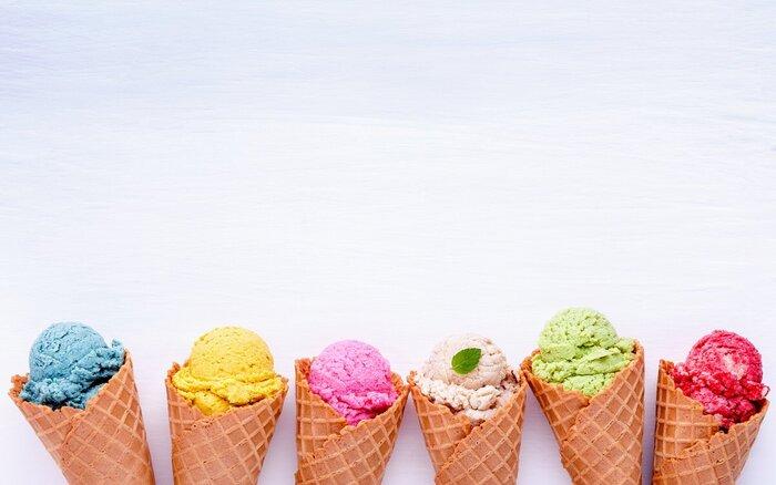 summer ice cream colorful ice cream in crispy cones different types