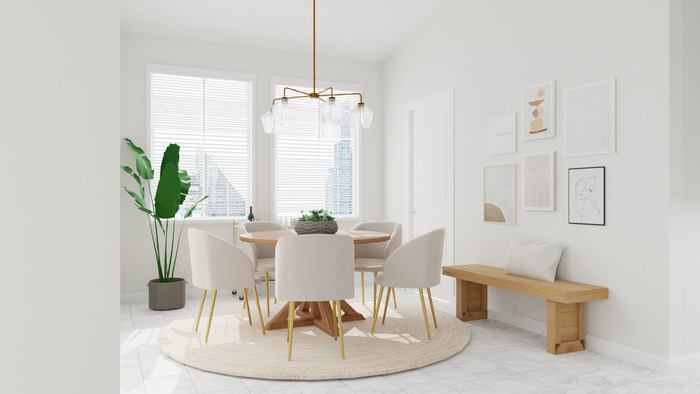 white and minimal dining room with white chairs and round carpet in the center