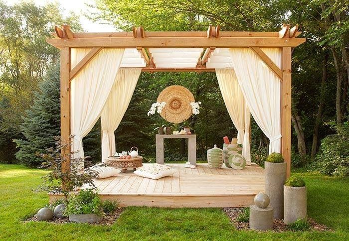 yoga garden ideas yoga spot gazebo with curtains and pillows