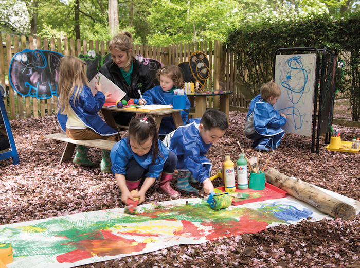 art classes for kids outdoors in a yard with a teacher and different painting materials