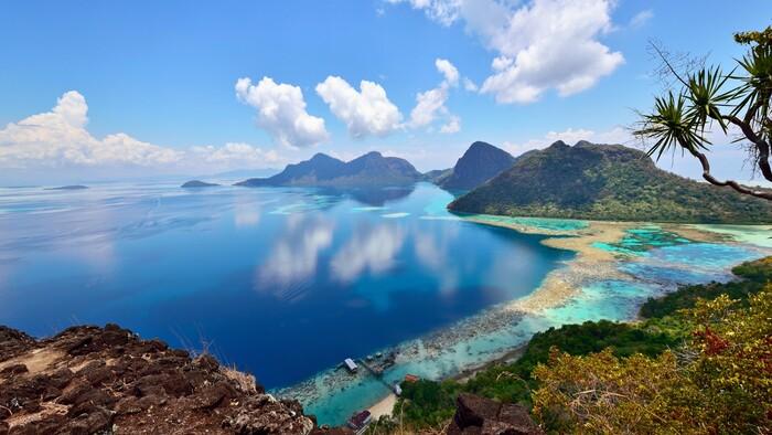 Borneo Island Malaysia virgin nature ocean and rocky tropical beaches