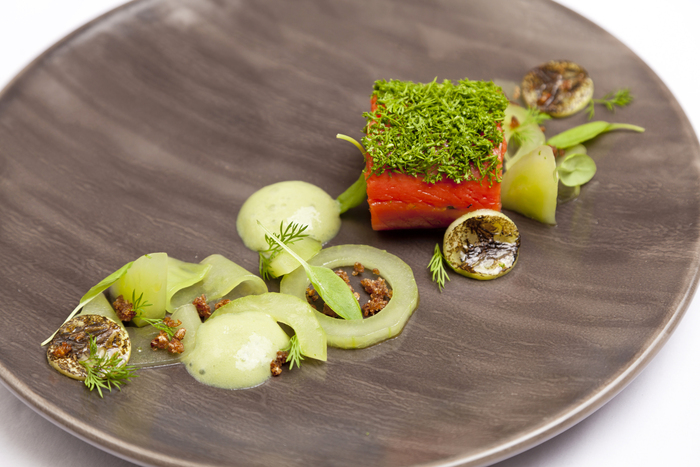flavours of japan gourmet minimalist dish with wasabi piece of fish and vegetables