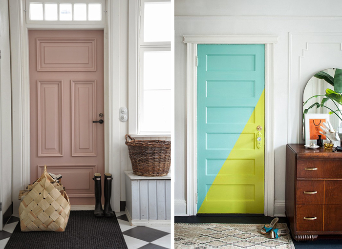 two fun and colorful entrance doors in a white interior setting