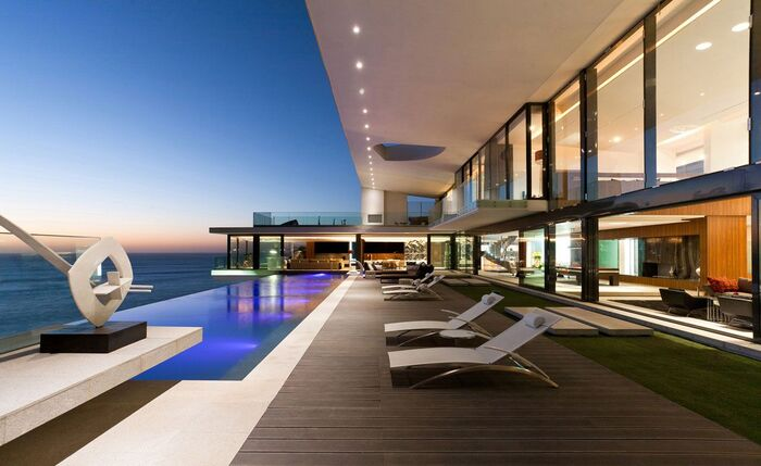 luxury villa dakar villa sow house romantic villas modern terrace outdoor pool with sleek exterior