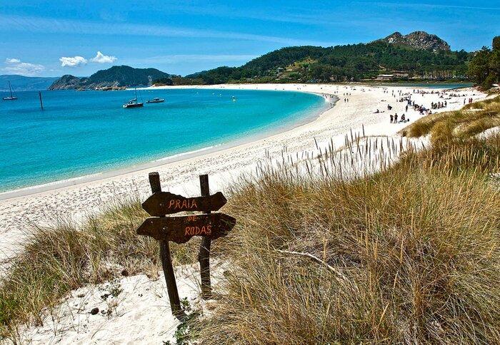 White sandy beach in Spain gorgeous virgin beach with blue water