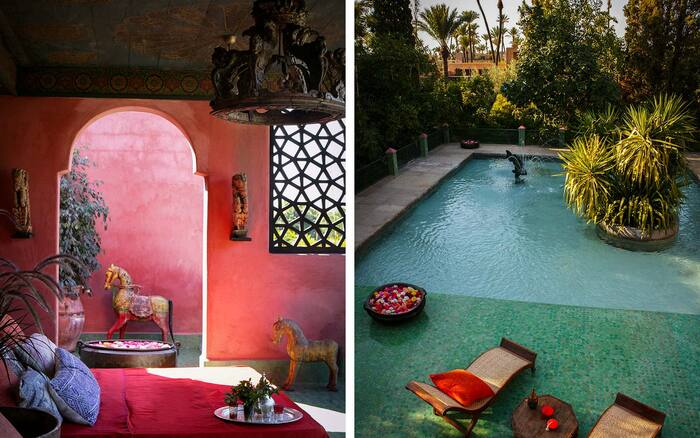 villa hippie village outdoor pool and pink bedroom with a window and a door