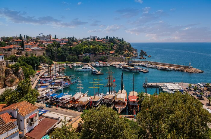 antalya turkey a look over the marina with the yachts and boats and the old town