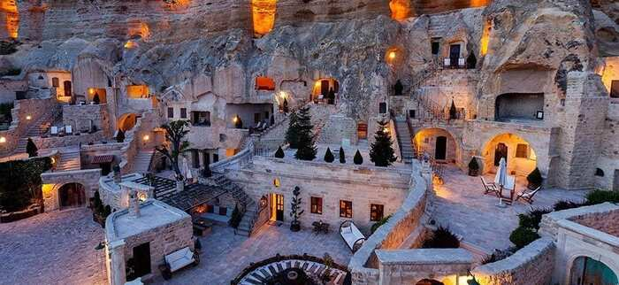 cappadocia sightseeing in Turkey cave restaurant and hotel with gorgeous lights