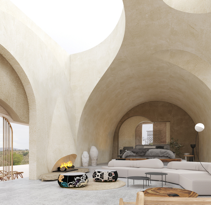 cave design with high ceiling fireplace and modern furniture
