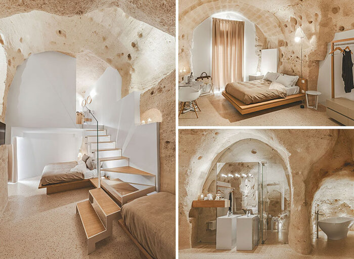 cave interior design with exposed walls and stairs and stones