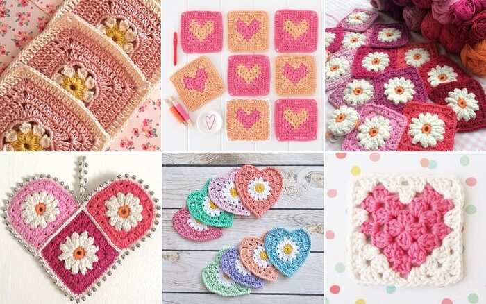 granny crochet colorful squares and hearts cute examples of crochet patterns
