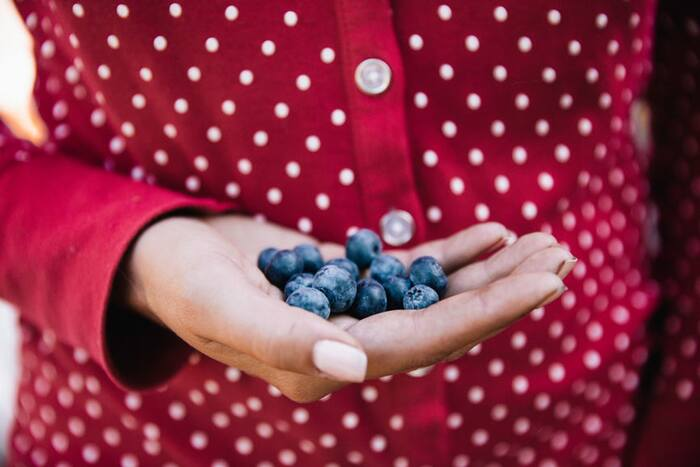 woman in red and white polka dots dress with white buttons holding blueberries in the palm of her hand with white nail polish
