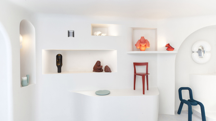 lighting white table with shelving and niches and colorful accents