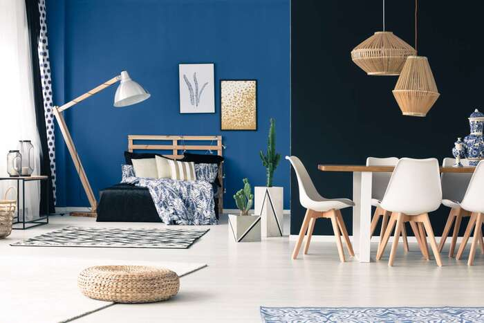 modern interior design of a room with blue rooms and natural materials white pieces