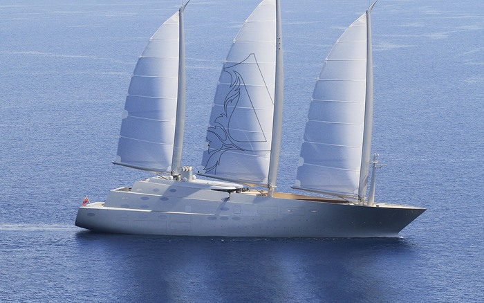 sailing yacht A in the open sea with ultra modern design