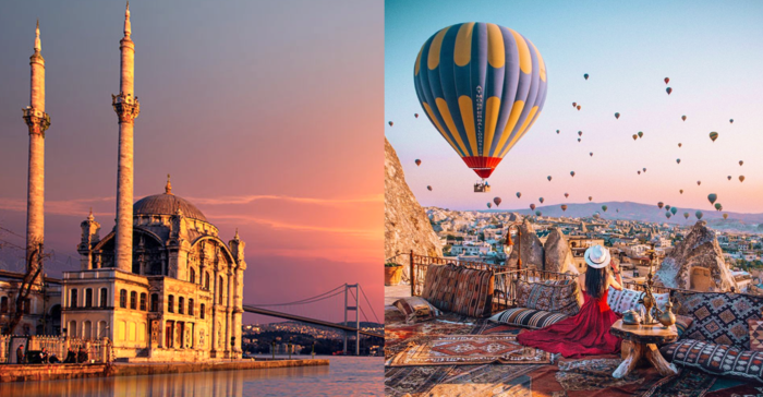visiting turkey two pictures of sights in the country a mosque at the bosphorus and woman overlooking hot air balloons in cappadocia