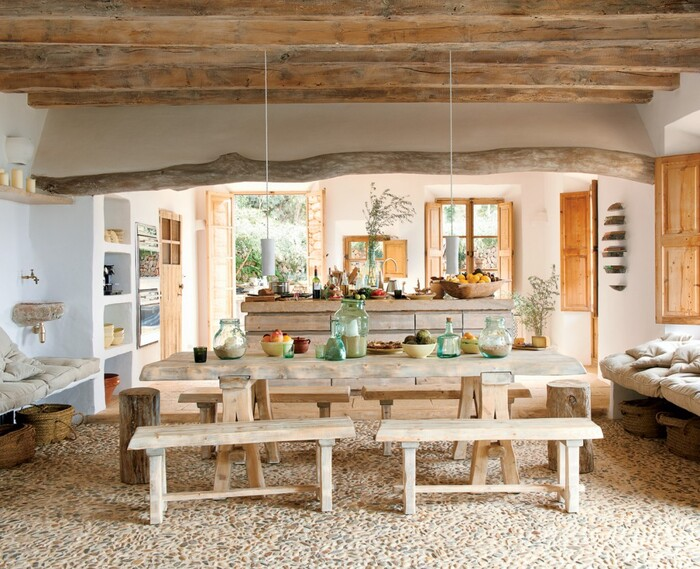 wood in the house wooden furniture in a rustic kitchen interior with wooden beams on the ceiling