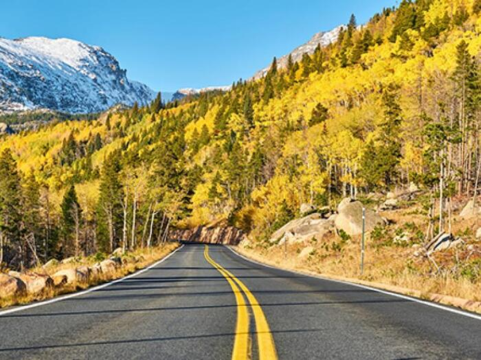colorado fall drive way into the mountains straight road with mixed forest and a snowy peak in the background