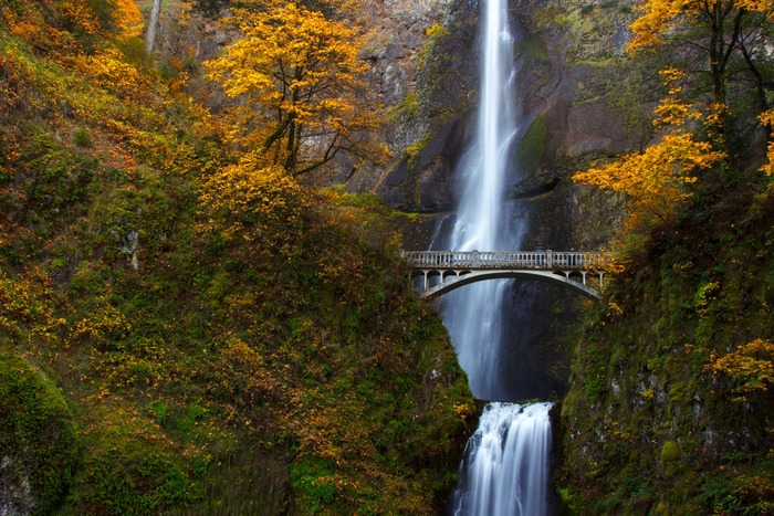 Gorge with a waterfall and bridge with yellow foliage and rocky slopes