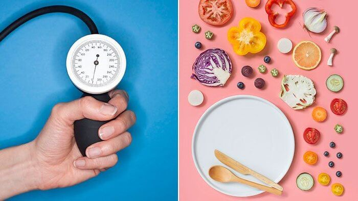 healthy meals a picture with two sides blue and pink a hand measuring the blood pressure in the blue side and a white plate with vegetables in the pink side