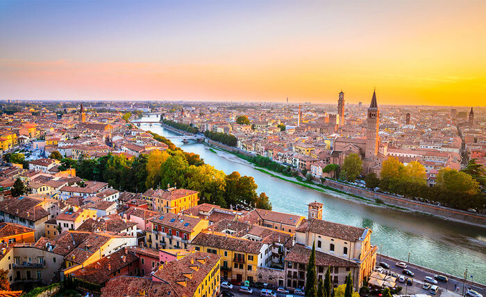 Sunset in Verona with the river in the middle a landscape photography