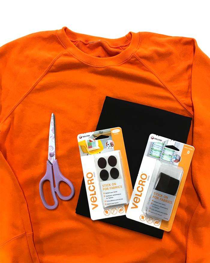 pumpkin costume no sew costume made of an orange shirt and velcro